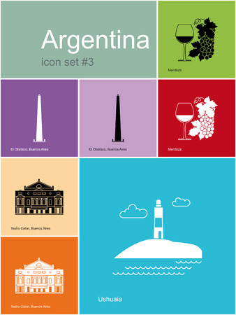 end of the world: Landmarks of Argentina. Set of color icons in Metro style. Editable vector illustration. Illustration