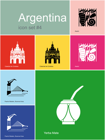 buenos aires: Landmarks of Argentina. Set of color icons in Metro style. Editable vector illustration. Illustration