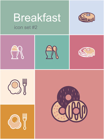 donut shop: Breakfast menu food and drink icons.