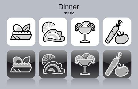shrimp cocktail: Dinner menu food and drink icons.