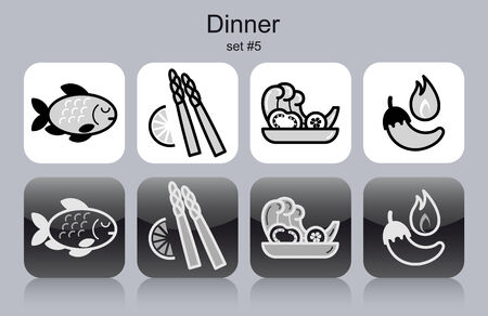 side dish: Dinner menu food and drink icons. Set of editable vector monochrome illustrations.