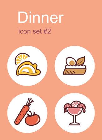 shrimp cocktail: Dinner menu food and drink icons. Set of editable vector color illustrations. Illustration