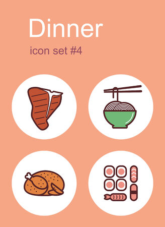 steak beef: Dinner menu food and drink icons. Set of editable vector color illustrations. Illustration