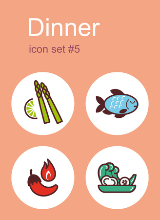 side dish: Dinner menu food and drink icons. Set of editable vector color illustrations. Illustration