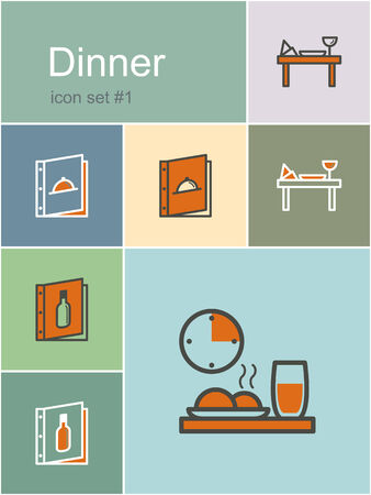 fine dining: Dinner menu food and drink icons. Set of editable vector color illustrations in Metro style.