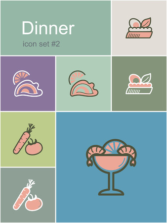 shrimp cocktail: Dinner menu food and drink icons. Set of editable vector color illustrations in Metro style.