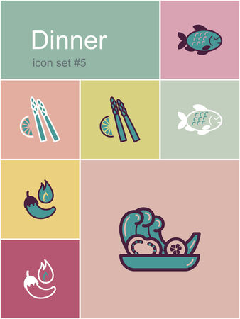 side dish: Dinner menu food and drink icons. Set of editable vector color illustrations in Metro style.