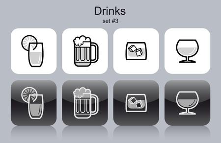 cubetti di ghiaccio: Bevande icone. Set di vettoriale modificabile illustrazioni vettoriali in bianco e nero. Vettoriali