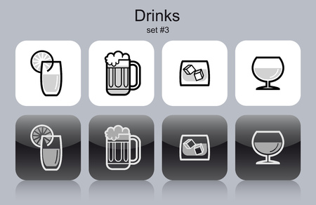 ice cubes: Drinks icons. Set of editable vector monochrome illustrations.