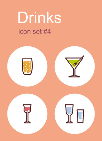 vermouth: Drinks icons. Set of editable vector color illustrations.