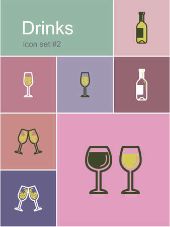 clink: Drinks icons. Set of editable vector color illustrations in Metro style. Illustration