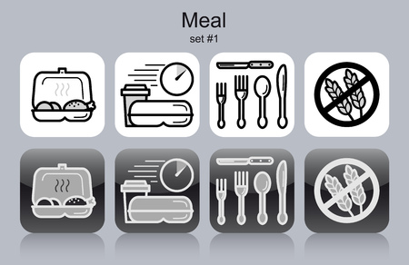 take away: Meal menu food and drink icons. Set of editable vector monochrome illustrations.
