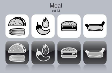 tortilla de maiz: Iconos de comidas de alimentos y bebidas del menú. Conjunto de ilustraciones vectoriales editables monocromas.