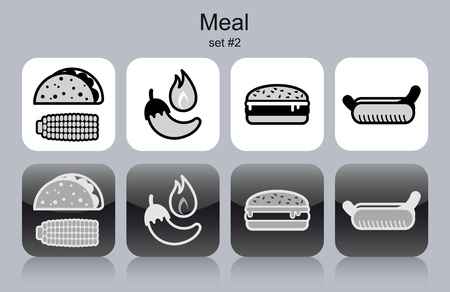 corn tortilla: Meal menu food and drink icons. Set of editable vector monochrome illustrations.