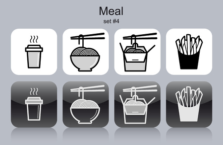 thai noodle: Meal menu food and drink icons. Set of editable vector monochrome illustrations.