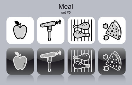 Meal menu food and drink icons. Set of editable vector monochrome illustrations. Vector