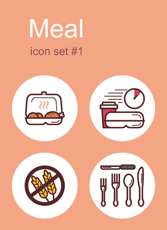 lunch box: Meal menu food and drink icons. Set of editable vector color illustrations.