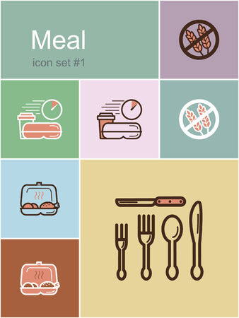 Meal menu food and drink icons. Set of editable vector color illustrations in Metro style. Vector