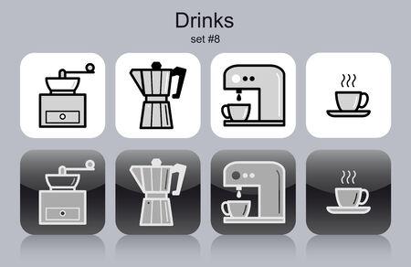 fine dining: Drinks icons. Set of editable vector monochrome illustrations.