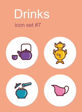 sugarbowl: Drinks icons. Set of editable vector color illustrations.