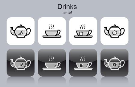 fine cuisine: Bevande icone. Set di illustrazioni vettoriali modificabili monocromatiche.