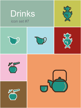 sugarbowl: Drinks icons. Set of editable vector color illustrations in Metro style. Illustration