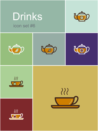 dinner menu: Drinks icons. Set of editable vector color illustrations in Metro style. Illustration