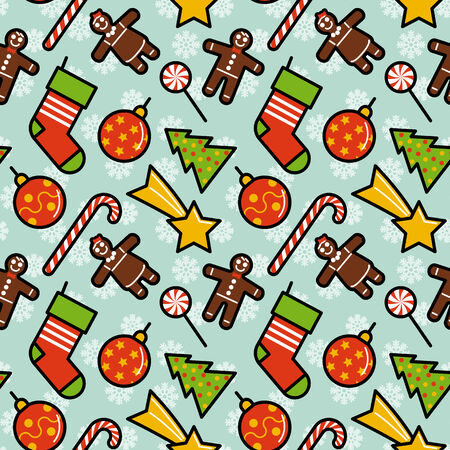 Christmas decorations seamless pattern. Editable vector illustration. Vector