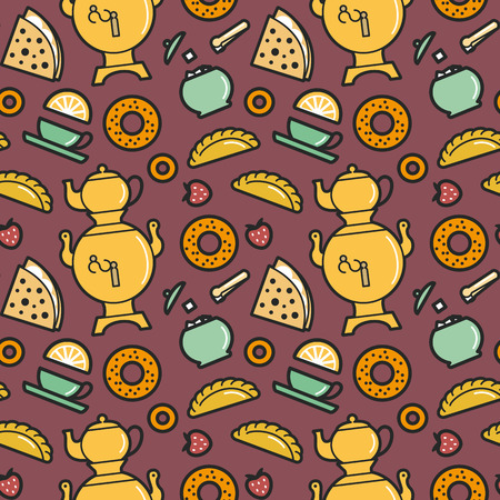 sugarbowl: Tea party menu food and drinks seamless pattern. Editable vector illustration.