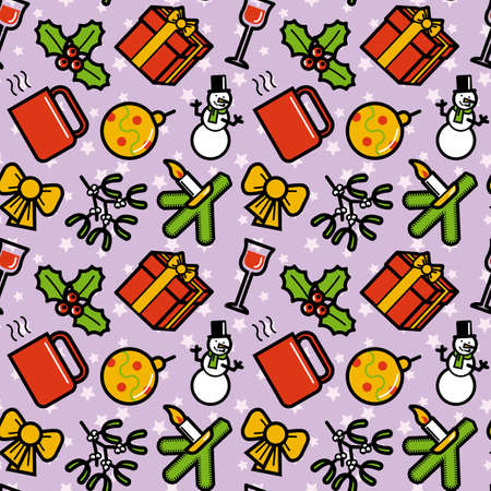 Christmas symbols seamless pattern. Editable vector illustration. Vector