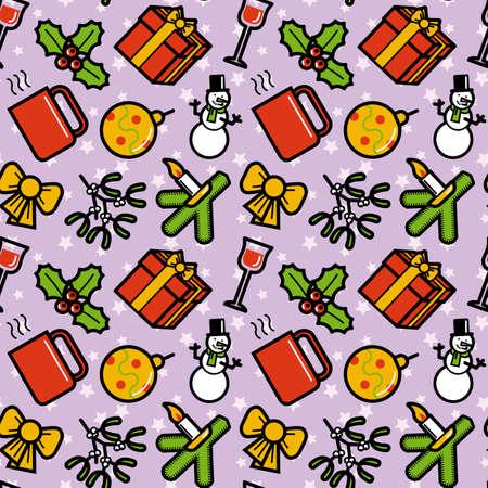 Christmas symbols seamless pattern. Editable vector illustration. Vector
