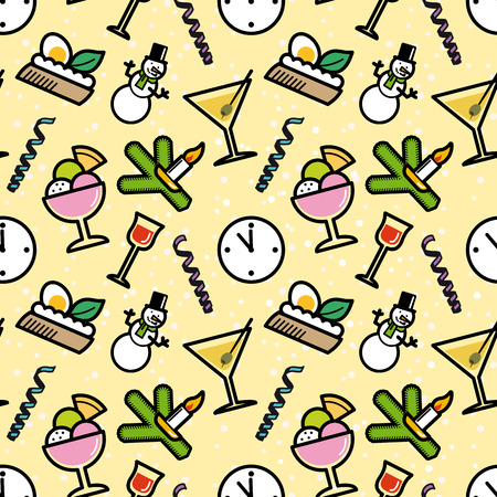 aperitif: New Year`s Eve party symbols seamless pattern. Editable vector illustration.