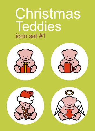 Christmas Teddy bears icons. Set of editable vector color illustrations. Vector