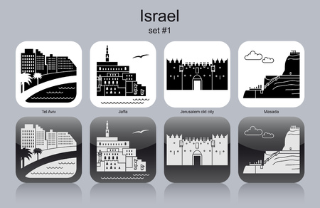 Landmarks of Israel. Set of monochrome icons. Editable vector illustration. Vector