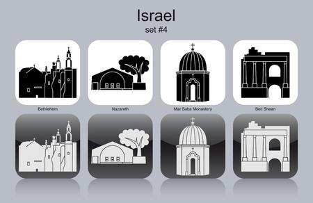 nazareth: Landmarks of Israel. Set of monochrome icons. Editable vector illustration. Illustration