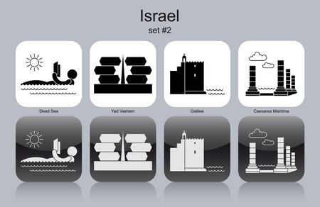 holocaust: Landmarks of Israel. Set of monochrome icons. Editable vector illustration. Illustration