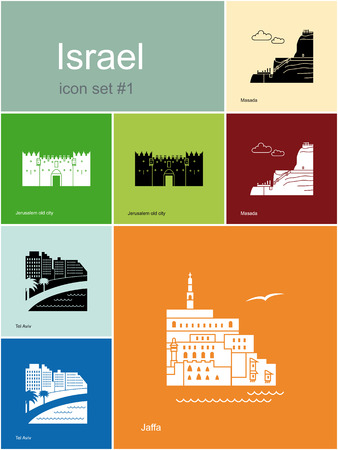 ancient israel: Landmarks of Israel. Set of color icons in Metro style. Editable vector illustration.