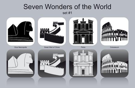 Landmarks of Seven Wonders of the World. Set of monochrome icons. Editable vector illustration.