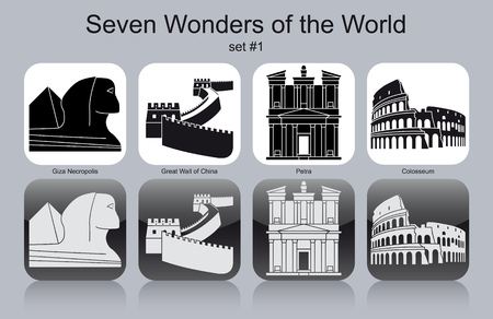 Landmarks of Seven Wonders of the World. Set of monochrome icons. Editable vector illustration.