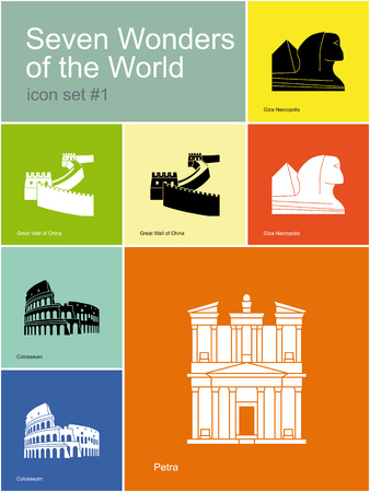 necropolis: Landmarks of Seven Wonders of the World. Set of color icons in Metro style. Editable vector illustration.