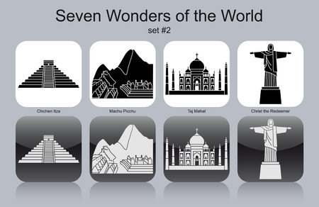 wonders: Landmarks of Seven Wonders of the World. Set of monochrome icons. Editable vector illustration.