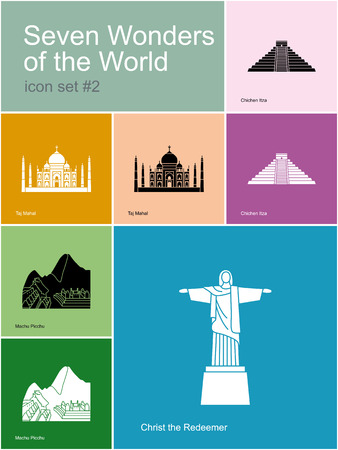 wonders: Landmarks of Seven Wonders of the World. Set of color icons in Metro style. Editable vector illustration.