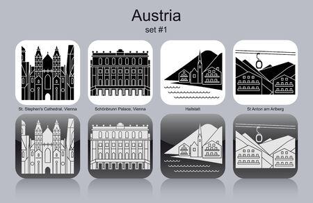 tyrol: Landmarks of Austria. Set of monochrome icons.