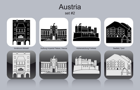 ski resort: Landmarks of Austria. Set of monochrome icons.