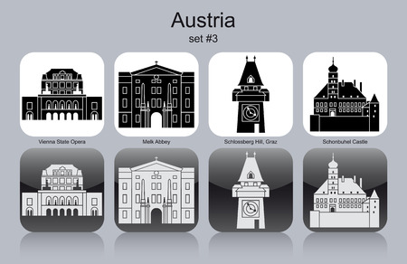 Landmarks of Austria. Set of monochrome icons.