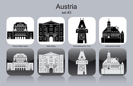 Monuments de l'Autriche. Ensemble d'icônes monochromes.