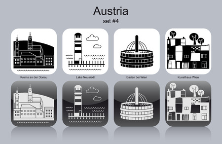 must: Landmarks of Austria. Set of monochrome icons.