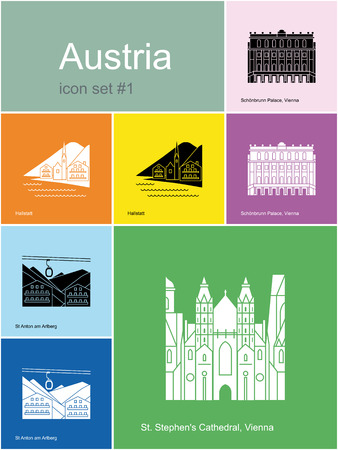 ski resort: Landmarks of Austria. Set of color icons in Metro style.  Illustration