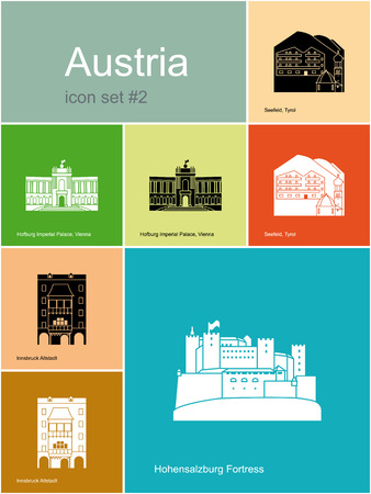 tyrol: Landmarks of Austria. Set of color icons in Metro style.  Illustration