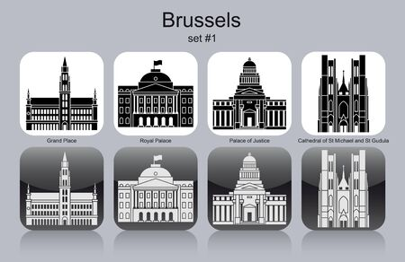 Landmarks of Brussels. Set of monochrome icons. Editable vector illustration.